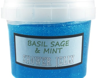 Basil Sage and Mint Shower Jelly (100g - 200g) - Natures Soap Handmade Cosmetics