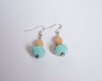Teal and Cream Earrings