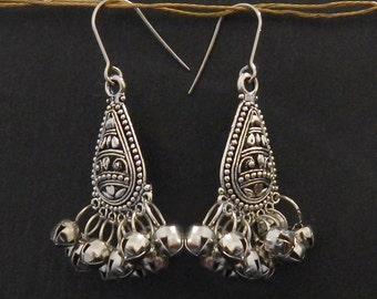Silver boho earrings silver chandelier earrings silver bell earrings indian earrings rustic earrings silver drop earrings tribal earrings