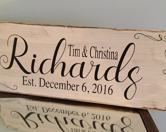 Last Name Plaque | Family Wood Sign | Engagement Gift | Wedding Gift | Farmhouse Decor