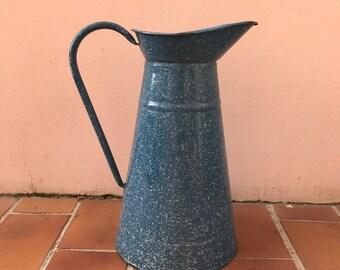 Vintage French Enamel pitcher jug water enameled blue white dots 1204178
