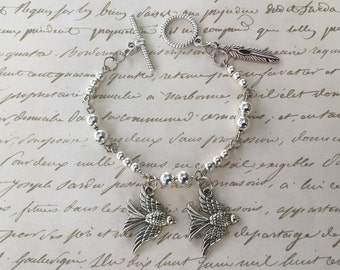 SALE! 30% off! Silver Bird & Feather Bracelet with Silver Beads
