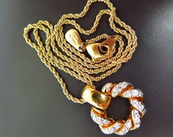 Vintage signed VOGUE BIJOUX Rhinestone gold tone necklace, 1980s era