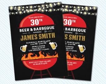 Digital Printable Adult Birthday Invitation. Beer and BBQ birthday invite. Any Age. 50th birthday. 30th birthday. Barbecue Night