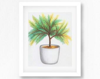 Botanical Illustration Wall Art, Botanical Decor, Palm Print, Palm Artwork, Printable Palm Art, Green Decor, Plant Illustration