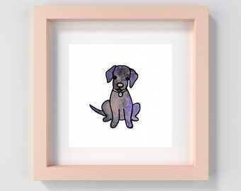 Watercolour Puppy Print, Puppy Painting, Doggy Print, Dog Print, Purple Watercolour Print, Puppy Nursery Art, Kid's Room Art Prints