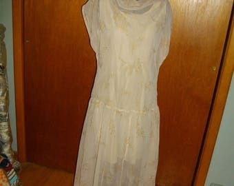 Vintage 1950's Sheer Party Dress Over Liner - Two Pieces