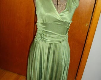 Vintage 1970's Olive Green Halter Dress With Accordion Pleats Made By Mocca