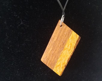 Reversible Brazilian Cherry and Marblewood Pendant
