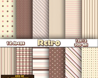 retro digital paper, retro background, retro scrapbook paper