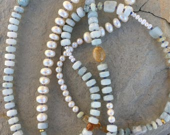 Long aquamarine and freshwater pearl necklace