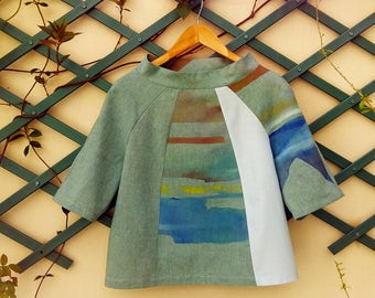 Woman blouse woman shirt woman tunic woman green top Hand painted artsy boho landscape  One of a kind piece.