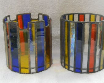 Vintage Stained Glass Candle Holders Set of 2