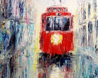 Rain Tram Painting Rain In City Painting Urban Landscape Small Oil Painting Canvas Modern Ukrainian Painting Impressionism Anniversary Gift