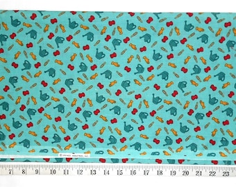 """Fabric - 29"""" piece - Vintage Light Teal Green with Garden/Gardening Tools/Gloves/Watering Can/Hand Shovel or Spade (#yd062)"""