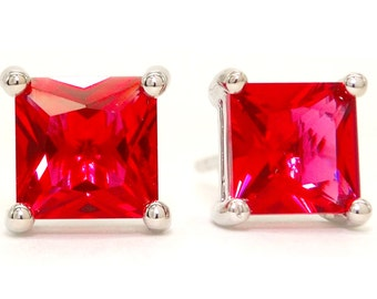 Princess Red Gem Earrings, Red Crystal Princess, Ruby Stud Earrings, Red Earrings, 925 Silver, Ruby Red Earrings, Red Square Gem, Fire Red