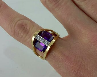 Vintage 14k Genuine Amethyst & Diamond Ring Sz 8