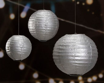 Silver Paper Lantern - 6/8/10 inches - 3 Pieces
