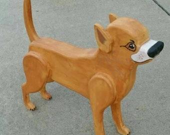Wooden Chihuahua Statue, 3D Chihuahua