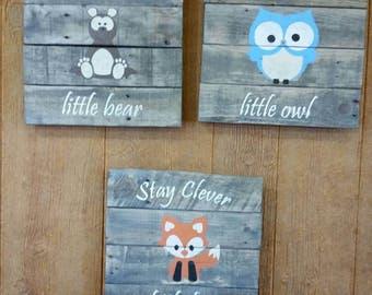 Nursery Fox,  Owl and Bear Wall Hangings