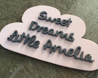 Sweet Dreams Cloud/Personalised nursery wall art/Custom name decor