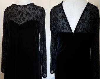 Vintage Black Prom Dress Velvet Gothic Dress Grunge Dress Witchy Dress Velvet Prom Dress
