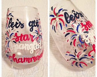 Star Spangled Hammered Wine Glass