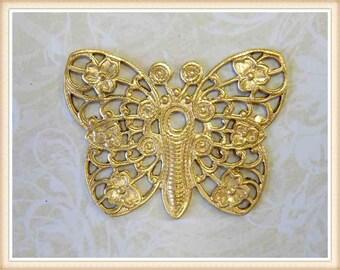 8 pcs  raw brass butterfly filigree embellishment vintage ornament E0125