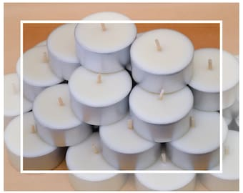 Natural Soy & Beeswax Large Tealight Candles (Tealights) - Gourmet Vanilla Scented