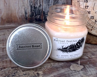 Zucchini Bread Soy Candle, All Natural Soy Candle, 8oz, The Bakery @ The Ruffled Feather Candle Co.