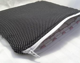 black polkadots pouch, black polkadots clutch, black purse