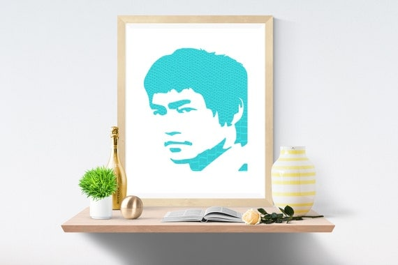 Bruce Lee, Sky Blue, Blue Print, Blue Prints, White Print, White Prints, Wall Art, Art Print, Printable Art, Wall Prints, Modern Art