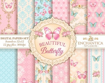 Papel Digital Mariposas, Butterfly Digital Papers, Mariposas Papel Digital, Digital Papers Butterfly, Patterns Scrapbooking, Floral Papers