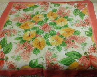 Vintage, Oscar de la renta, likely silk scarf with pink lily's and yellow morning glory looking flowers.
