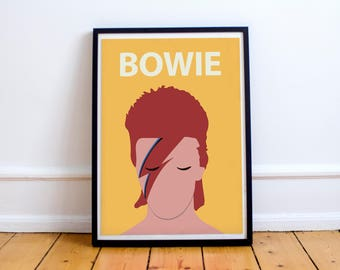 David Bowie / Ziggy Stardust Poster Print // Wall Art, Portrait, Retro Art, Colourful, Minimalist, Artist, Music, 70s, 80s, British