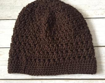 Organic Cotton Hat - 100% Cotton - Organic Hat - Organic Cotton - Adult Beanie - Winter Hat - Beanie - Brown Hat - Brown Beanie