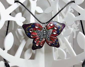 Red and blue butterfly necklace made in fimo