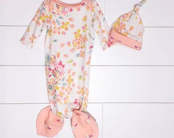 Knotted Newborn Mermaid Gown White/Pink Floral