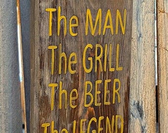 Grill Utensil Holder for Him-BBQ utensil holder-Summer outside decor-Grill sign he will appreciate-Gift for husband and dads-home decor-gift