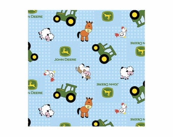 FLANNEL Fabric- John Deere Fabric- John Deere Tractor Farm Animals Fabric- Nursery Fabric