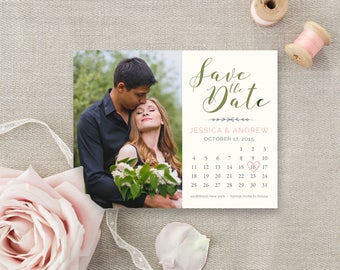 Save the Date Magnet (Printed), Save the Date photo magnet, Calendar Save the date, Custom Save the Date Magnet