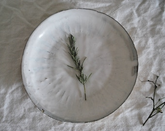 Handcrafted Wabi Sabi Style White Stoneware Plate