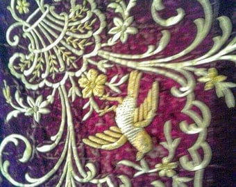 1700's Antique Scottish Gold-work wire embroidery Tapestry