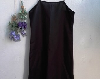 Linen Slip Dress / Women Linen Dress, Bride Slip Dress, Black Slip Dress