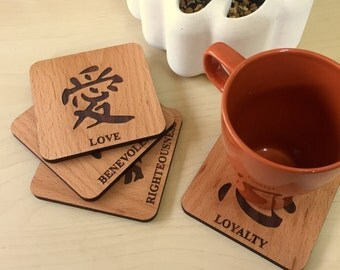 The Chinese character coasters, Set of 4, Wood Coasters,  Drink Coasters