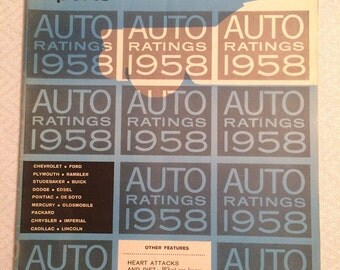 Vintage Consumer Report Magazine, Auto Edition, 1958