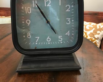 Double Sided Clock with Metal Frame on Wood Base