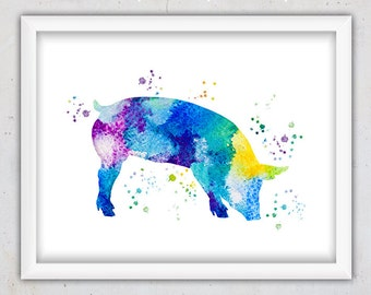 Nursery Digital Art Print, Nursery Printable Art, Pig Print, Watercolor wall Art, Nursery Wall Art, Instant Download Animal Print Kids Art