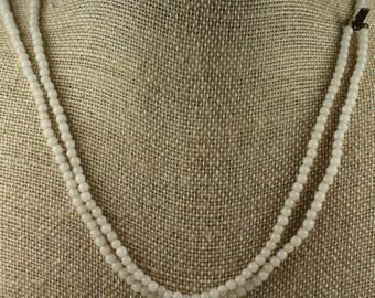 Vintage 2mm White Bead Necklace - Estate Sale - 1960's - #504