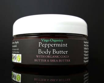 Organic Body Butter / Lotion / Gluten Free / Vegan / Organic Coco Butter and Peppermint Improves Stretch Marks & Cellulite